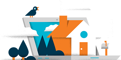 Website logo containing a house and laptop